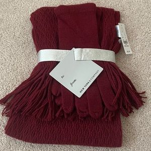 NWT New York and company scarf and gloves set